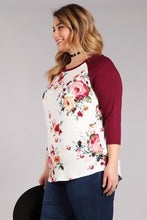 Baseball T Burgundy Floral (Plus available)