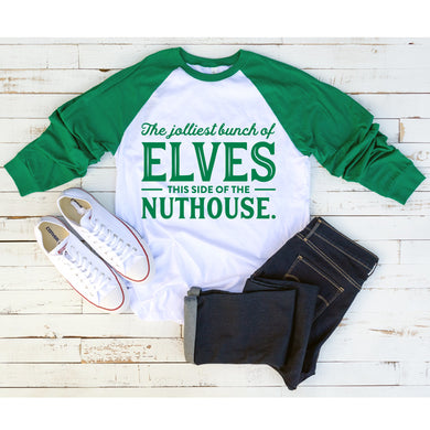 Graphic Baseball Tee (Jolliest Bunch of Elves)