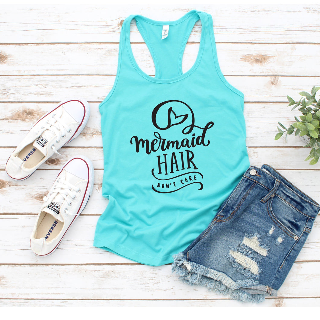 Graphic Tank, Racerback (Mermaid hair don't care)