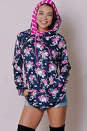 Sweatshirt, Double Hood (Navy Floral)