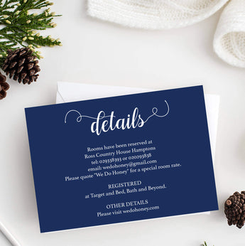 wedding navy details card