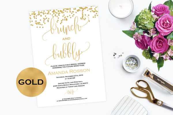 Gold Brunch and Bubbly Bridal Shower Invitation