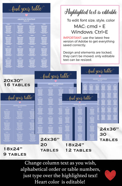Navy Gold Wedding Seating Chart Tempalte