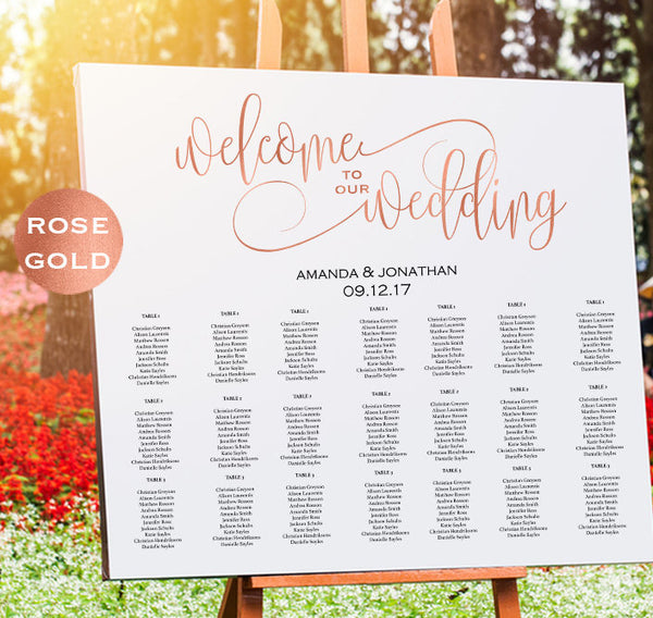 Rose Gold Wedding Seating Chart Template