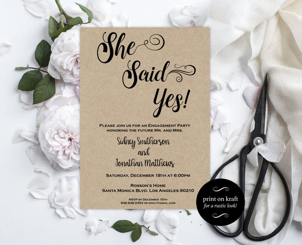 Rustic Engagement Invitation