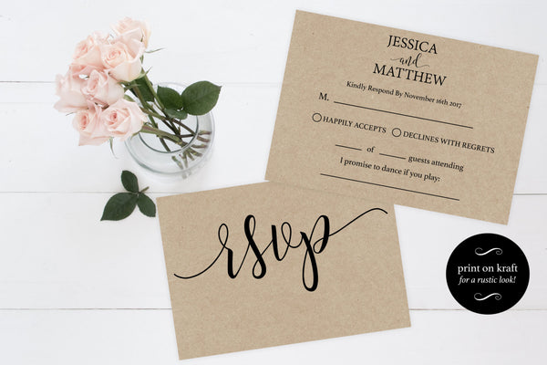 Brown RSVP cards