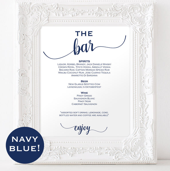 Navy blue bar signature drink
