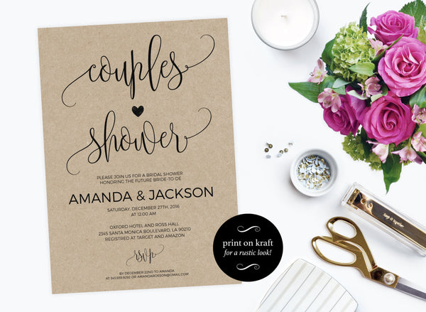 Couples Shower Printable Invitations