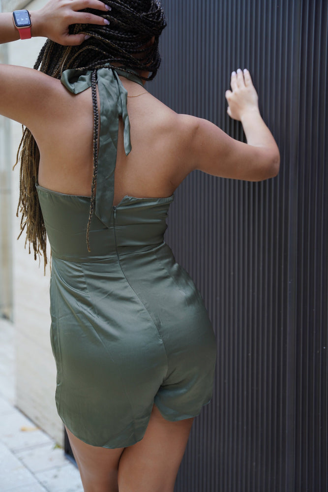 Olive satin jumpsuit