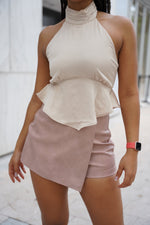 Charlotte Satin Halter Neck Top- Beige