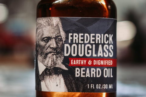 frederick douglass beard oil bottle art