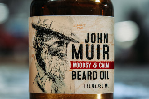 john muir beard oil bottle art wolf and iron