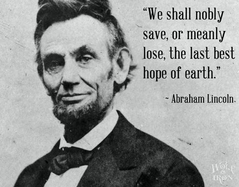 """We shall nobly save, or meanly lose, the last best hope of earth."" – Abraham Lincoln"