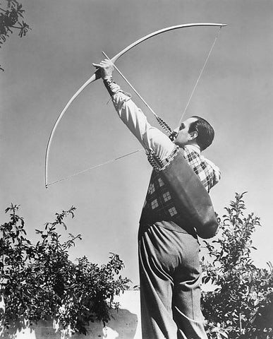 "A longbow in full draw. Notice the ""D"" shaped limbs. When unbraced the bow would simply be straight."