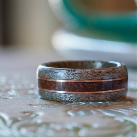 Wood wedding ring weathered maple, coffee and bronze