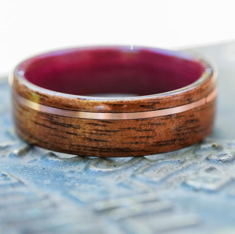 Purpleheart wood wedding ring rose gold m1 garand