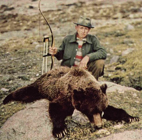 Fred Bear and a grizzly he took with his recurve. Mr. Bear would film his amazing hunting adventures and before long, men and women across the country were lining up to get their bows.