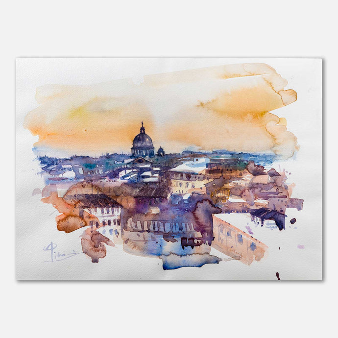Panoramica skyline di Roma ad Acquerello - quadro in vendita