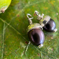 Peacock Pearl Acorn Earrings