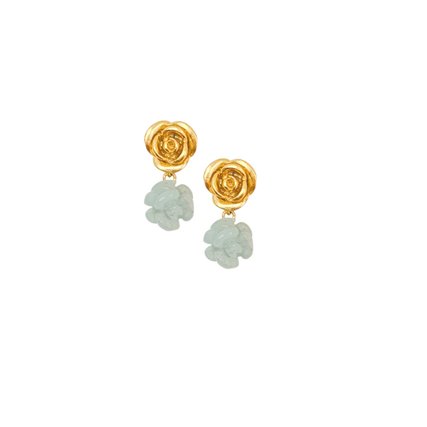 Halcyon & Hadley Aquamarines and Roses Stud Earrings - Women's Earrings - Women's Jewelry - Unique Earrings - Statement Earrings