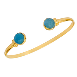 Halcyon & Hadley The Halcyon Cuff Bracelet in Blue Chalcedony - Women's Earrings - Women's Jewelry - Unique Earrings - Statement Earrings