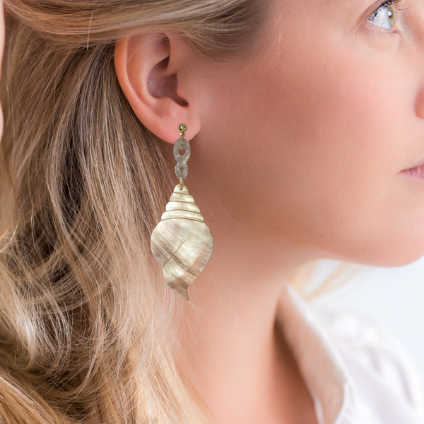 Halcyon & Hadley Ocean's 16 Statement Earrings with Swarovski Crystals and Hand-Carved Gold Lip Mother of Pearl - Women's Earrings - Women's Jewelry - Unique Earrings - Statement Earrings