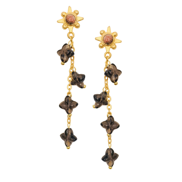 Halcyon & Hadley Tuscan Sun Cascade Earrings with Smoky Quartz and Copper Calcite - Women's Earrings - Women's Jewelry - Unique Earrings - Statement Earrings