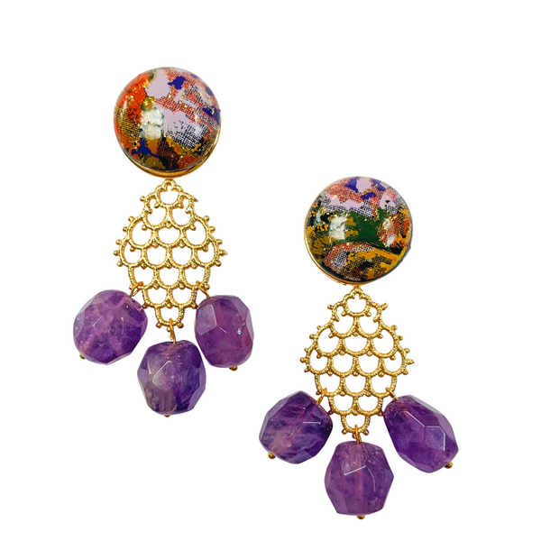 Halcyon & Hadley Indochine II Statement Earrings with Amethyst - Women's Earrings - Women's Jewelry - Unique Earrings - Statement Earrings