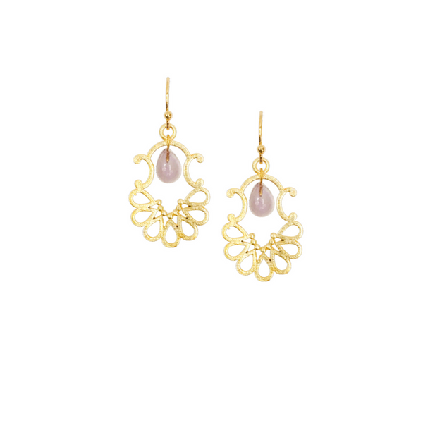 Halcyon & Hadley Petite Palais Gold Earrings with Teardrop Gemstones - Women's Earrings - Women's Jewelry - Unique Earrings - Statement Earrings