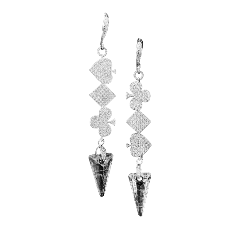 Halcyon & Hadley High Roller Earrings in Platinum Pave - Women's Earrings - Women's Jewelry - Unique Earrings - Statement Earrings
