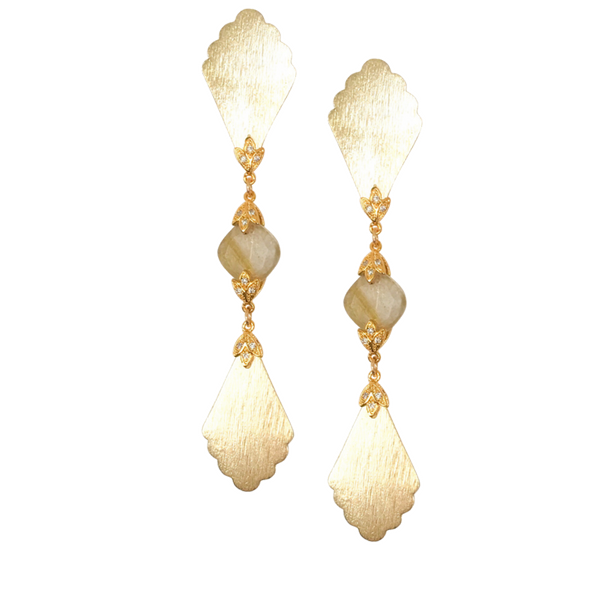Halcyon & Hadley Art Deco Fan Statement Earrings with Gold Rutilated Quartz and Pave Leaves - Women's Earrings - Women's Jewelry - Unique Earrings - Statement Earrings