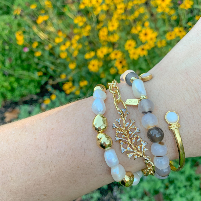 HH Stack Bracelet in White Agate