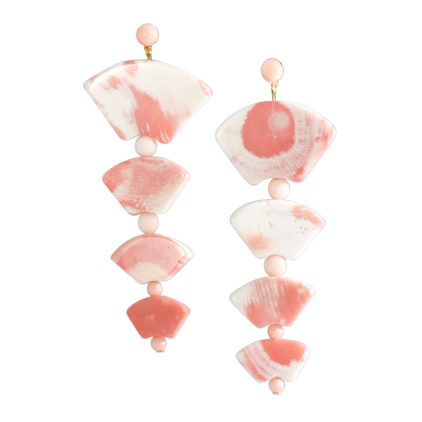 Halcyon & Hadley Coral Pink Pagoda Statement Earrings - Women's Earrings - Women's Jewelry - Unique Earrings - Statement Earrings