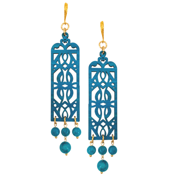 Halcyon & Hadley Moroccan Garden Statement Earrings in Dark Teal - Women's Earrings - Women's Jewelry - Unique Earrings - Statement Earrings