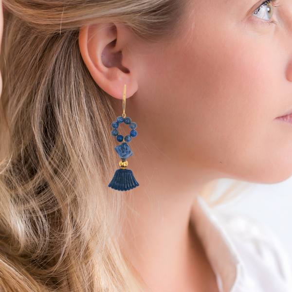 Halcyon & Hadley Orient Express Statement Earrings in Sodalite - Women's Earrings - Women's Jewelry - Unique Earrings - Statement Earrings