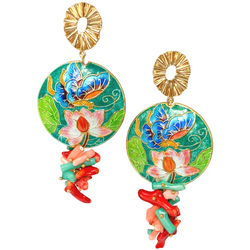 Halcyon & Hadley Cloisonné Lily Pad Statement Earrings with Bamboo Coral - Women's Earrings - Women's Jewelry - Unique Earrings - Statement Earrings