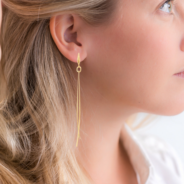 Halcyon & Hadley Golden Grass Linear Earrings - Women's Earrings - Women's Jewelry - Unique Earrings - Statement Earrings
