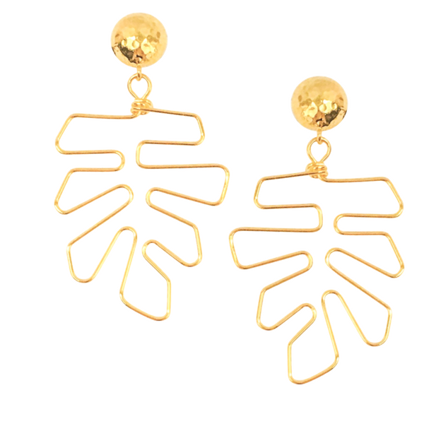 Halcyon & Hadley Gold Monstera Statement Earrings - Women's Earrings - Women's Jewelry - Unique Earrings - Statement Earrings