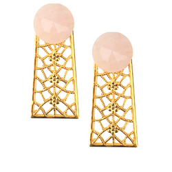 Halcyon & Hadley Orchard Road Statement Studs in Rose Quartz - Women's Earrings - Women's Jewelry - Unique Earrings - Statement Earrings
