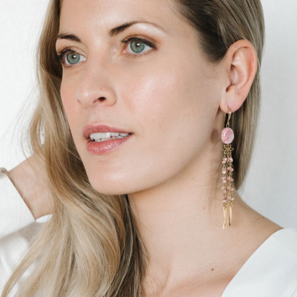 Halcyon & Hadley Empress Statement Earrings in Rhodochrosite and Gold - Women's Earrings - Women's Jewelry - Unique Earrings - Statement Earrings