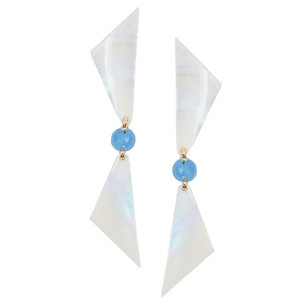 Halcyon & Hadley Blue Chalcedony & Seashell Nantucket Sails Statement Earrings - Women's Earrings - Women's Jewelry - Unique Earrings - Statement Earrings