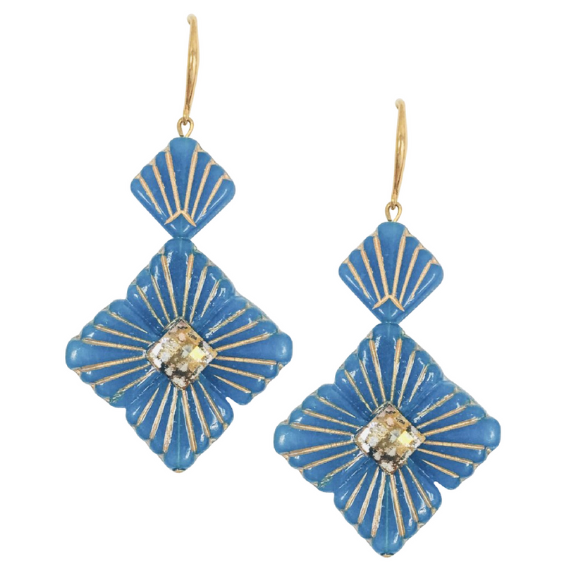 Halcyon & Hadley Swarovski Sunburst Statement Earrings in Gilded Blue Opal - Women's Earrings - Women's Jewelry - Unique Earrings - Statement Earrings