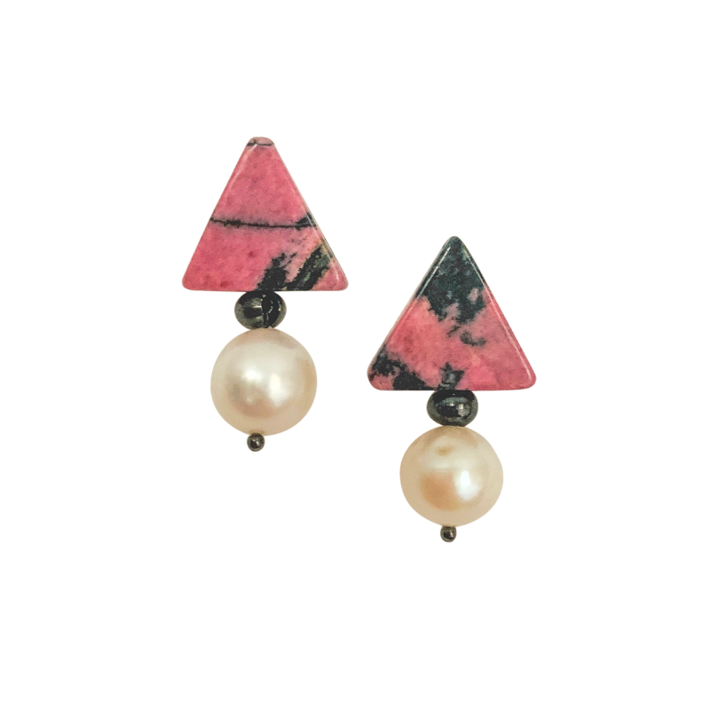 Halcyon & Hadley Triple Threat Statement Stud with Pink and Black Rhodonite and Ivory Baroque Pearls - Women's Earrings - Women's Jewelry - Unique Earrings - Statement Earrings