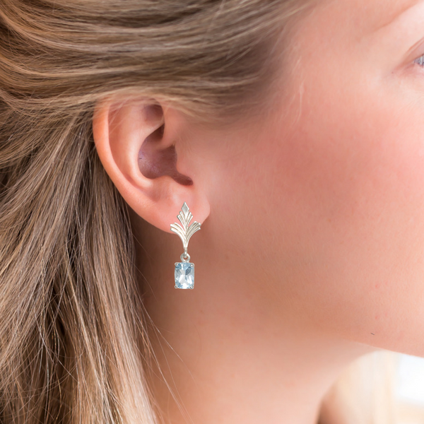 Halcyon & Hadley Duchess Earrings with Sterling Silver and Sky Blue Topaz - Women's Earrings - Women's Jewelry - Unique Earrings - Statement Earrings
