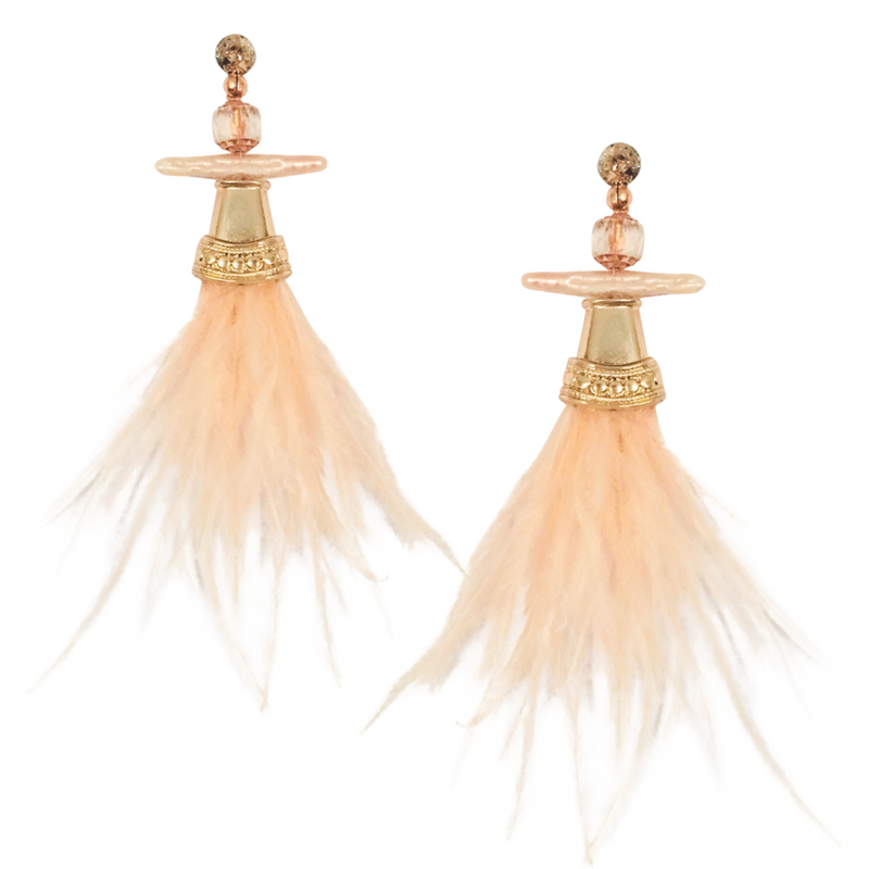 Halcyon & Hadley Blush Chinoiserie Statement Earrings with Biwa Pearls and Ostrich Feathers - Women's Earrings - Women's Jewelry - Unique Earrings - Statement Earrings