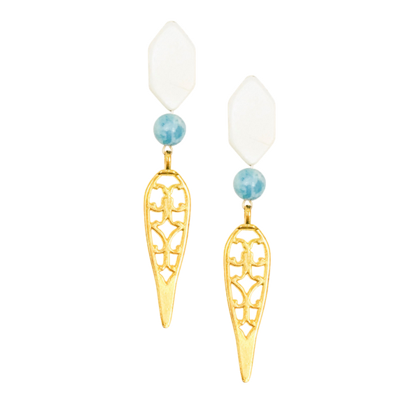 Halcyon & Hadley Geisha Fretwork Earrings in Larimar and Mother of Pearl Shell - Women's Earrings - Women's Jewelry - Unique Earrings - Statement Earrings