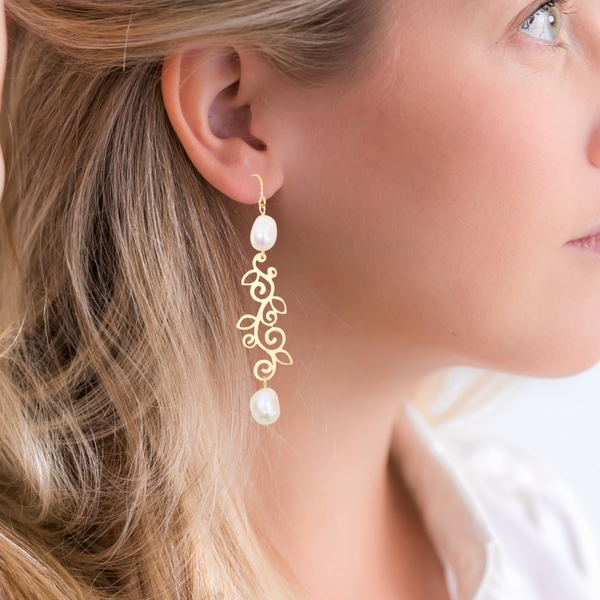 Halcyon & Hadley Pearls and Vines Linear Earrings - Women's Earrings - Women's Jewelry - Unique Earrings - Statement Earrings