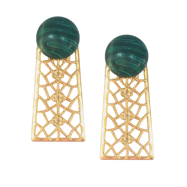 Halcyon & Hadley Orchard Road Statement Studs in Malachite - Women's Earrings - Women's Jewelry - Unique Earrings - Statement Earrings