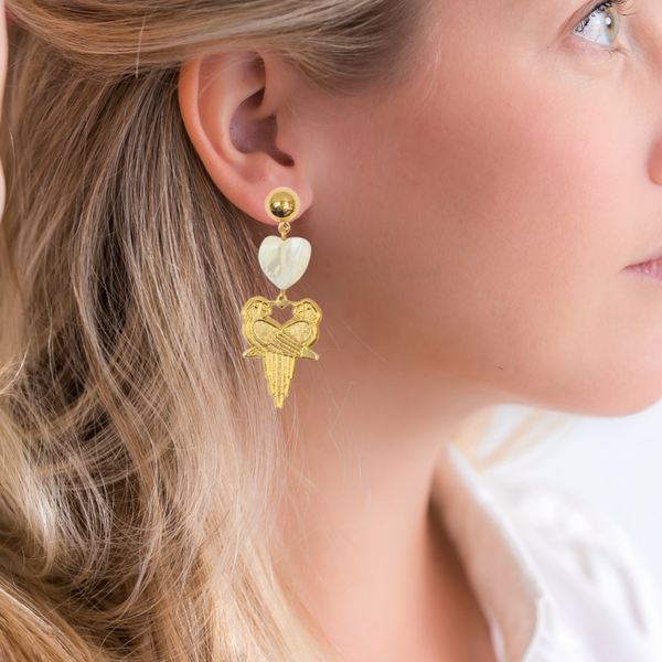 Halcyon & Hadley Lovebirds Mother of Pearl and Gold Drop Earrings - Women's Earrings - Women's Jewelry - Unique Earrings - Statement Earrings