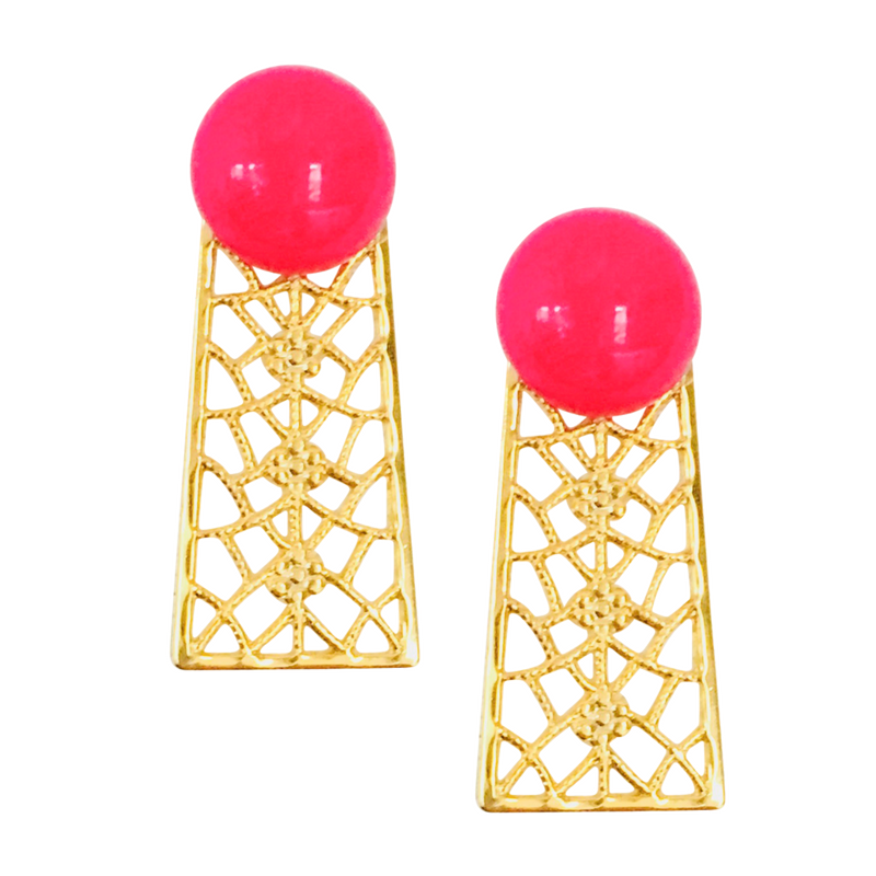 Halcyon & Hadley Orchard Road Statement Studs in Hot Pink Quartz - Women's Earrings - Women's Jewelry - Unique Earrings - Statement Earrings